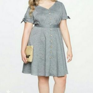 Eloquii tie-sleeve chambray button-up dress